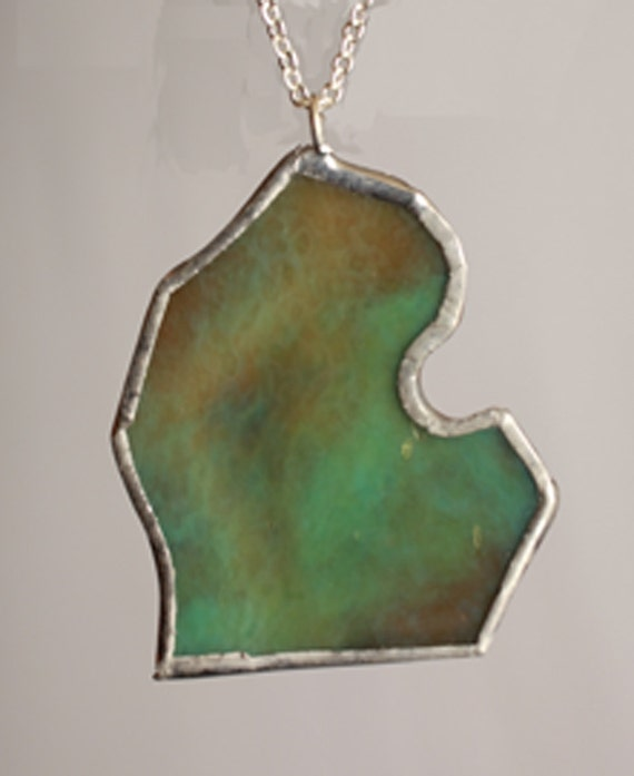 Michigan Necklace Colored Stained Glass Lower Peninsula Pendant
