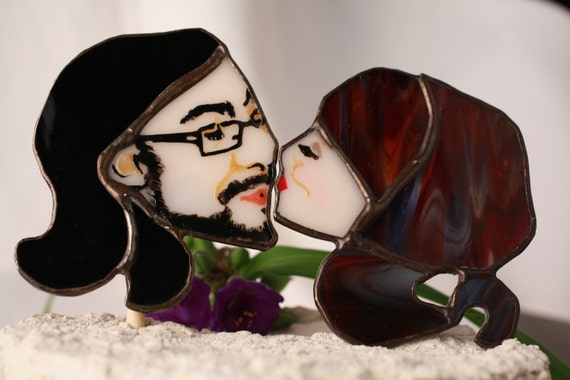 Portrait Wedding Cake Topper by Glass Action