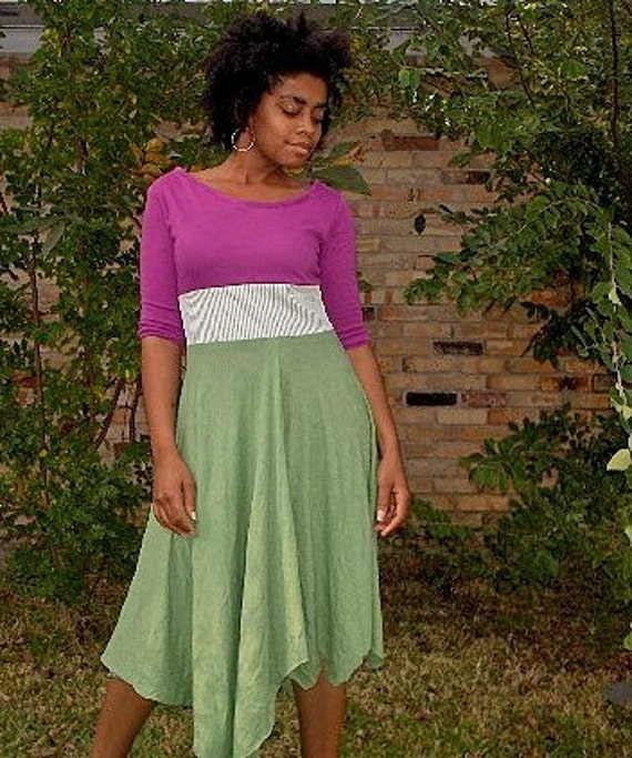 S A L E flyTie fuchsia and green contrast asym dress--medium
