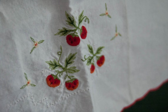 Vintage Tea Towel with embroidered Strawberries
