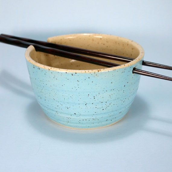 Handmade Robins Egg Blue Stoneware Chopsticks Bowl, 12 Ounces, Small