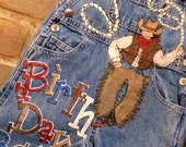 Happy Birthday Hand Painted Cowboy Boys Custom Overalls for Toddler