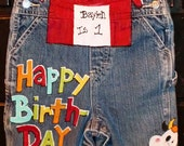Barnyard Birthday for Boys hand painted upcycled overalls.