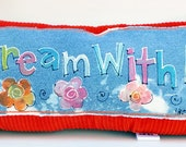 Hand Painted Denim Pillow Dream With Me colorful florals and corduroy