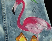 Flamingo Floral Reef Painted Jeans or Capris for girls.
