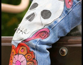 Urban Gypsy Clothing, Hand Painted Jeans, Girls Bohemian Clothing, Day of the dead Clothing, Sugar Skulls Clothing for Girl, Painted Jeans
