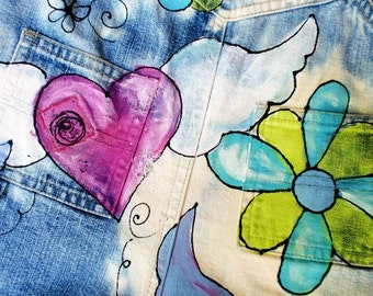 Free Spirit distressed and hand painted upcylced overalls peace signs hearts and flowers for girls