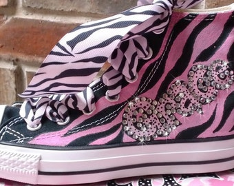 Painted Converse Shoes, HandPainted Converse, Leopard, Zebra, Animal Print Bling Sneakers, Personalized Gift for Girls, Custom Painting Shoe