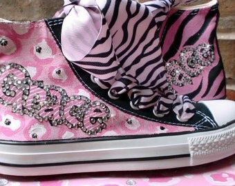 Custom Pink Converse, Custom Converse, Personalized Chucks, for Women, Hand Painted Sneakers, Hi Top Sneakers, Bling Shoes, Converse, zebra