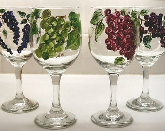 Hand Painted Wine Glasses Vineyard Stemware dinner wines red white balloon wines stemless Set of four