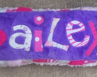 Appliqued Custom Name Pillow Purple Pink and White Girls Decor