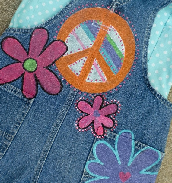 Girls Dungarees, Painted Overalls, Painted Denim, Peace Signs, Flowers, Party Overalls, Boho Baby Clothes, Toddler Dungarees, Dungarees