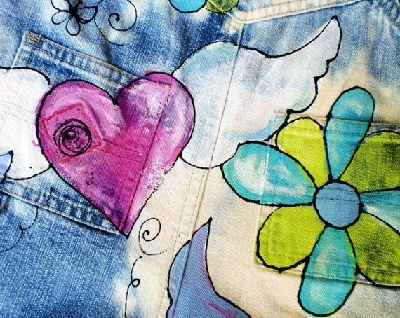 Denim Overalls, Hand Painted Peace Signs, Hearts with Wings, Flowers, Hippie Baby Birthday Party Clothes, Free Spirit Gift for Toddler Girl