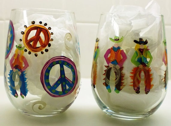 Hand painted glasses Bright color Cowboy Peace Signs and Stemless Wines