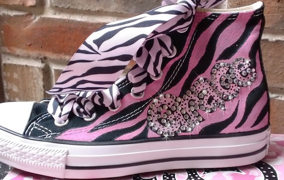 Painted Converse High Tops Pink and Black Diva Personalized with BLING  CHUCKS