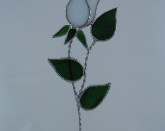 Stained Glass Rose Suncatcher White Single Stem