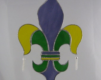 Stained Glass Mardi Gras Fleur de Lis Suncatcher