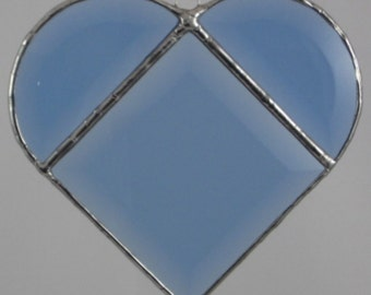True Blue Heart Suncatcher Stained Glass Bevel Cluster