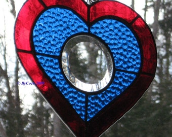 Stained Glass Bevel Heart Suncatcher Blue & Red Full Moon