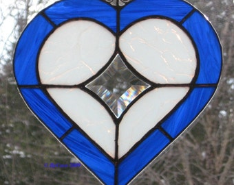 Art Glass Beveled Heart Suncatcher My True North in Blue