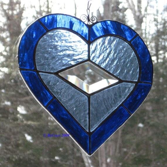 Stained Glass Bevel Heart Suncatcher Twinkle in My Eye