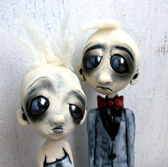 Loopy Art Doll Cake Toppers Goth  Zombie Love