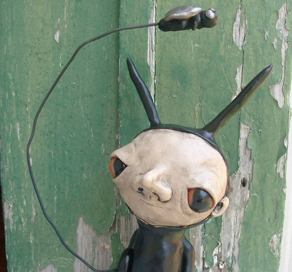 Bing the Slug Boy and his Fly Loopy Art Doll Reserved for FrameofMindArt