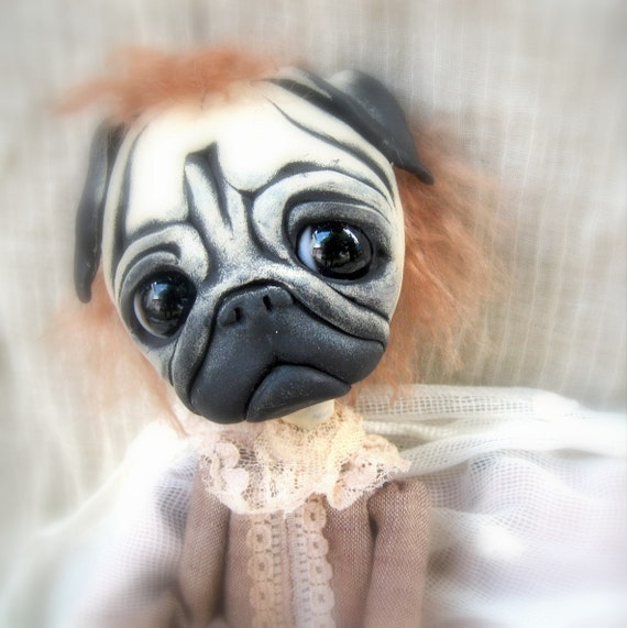 Loopy OOAK Gothic Art Doll Vicorian Pug Dog Peter Pug RESERVED balance for S