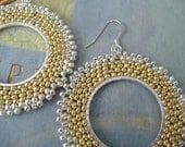 Beaded Hoop Earrings Gold and Silver Satin Beadwork Earrings Silver and Gold Jewelry Handmade