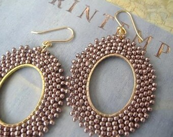 Seed Bead Hoop Earrings Marvelous Mauve Oval Dangle Beaded Earrings