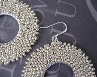 Large Beadwork Hoop Earrings Big Bold Silver Satin Beaded Hoops