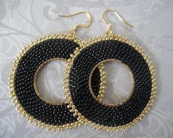 Large Black Hoop Earrings - Big Bold Seed Bead Hoop Earrings