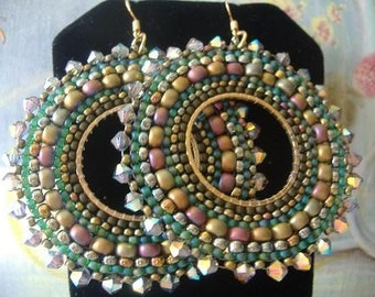 Beaded Hoop Earrings Green Autumn Goddess Seed Bead and Crystal Statement Jewelry