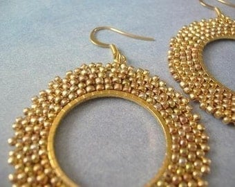 Beadwork Earrings Old Rose Gold Seed Bead Dangle Drop Hoop Earrings