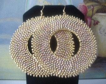 Beadwork  Hoop Earrings Old Rose Gold Seed Bead Extra Large Hoop Earrings