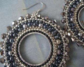 Beaded Earrings Silver Goddess Seed Bead Hoop Earrings Beadwork Jewelry