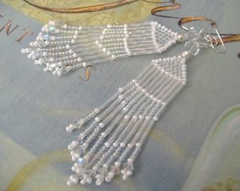 Long AB Crystal Fringe Seed Bead Earrings - Beaded Chandelier Earrings - Wedding Jewelry