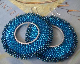 Electric Blue Hoop Earrings Beaded earrings