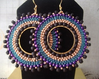 Large Hoop Earrings Big Bold Magnificent Seed Bead Hoop Earrings