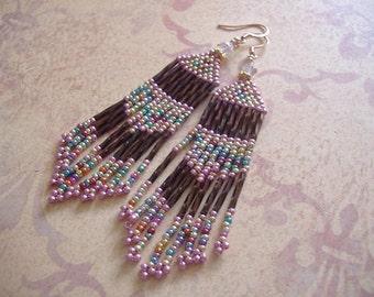 Seed Bead Earrings - Long Pink Trimmed Burgundy Fringe Earrings Christmas Holiday Jewelry