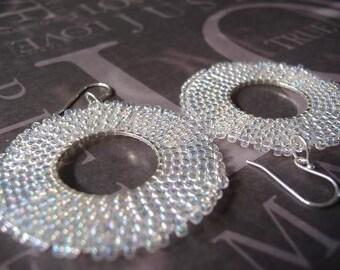 Beadwork Hoop Earrings - Crystal Satin Seed Bead Hoop Beaded Earrings
