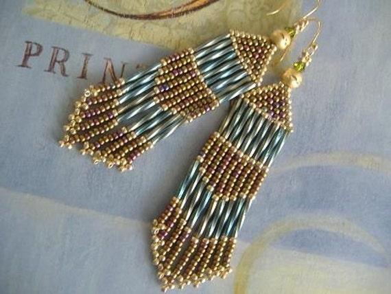 Seed Bead Earrings - Long Aqua and Antique Bronze Chandelier Earrings