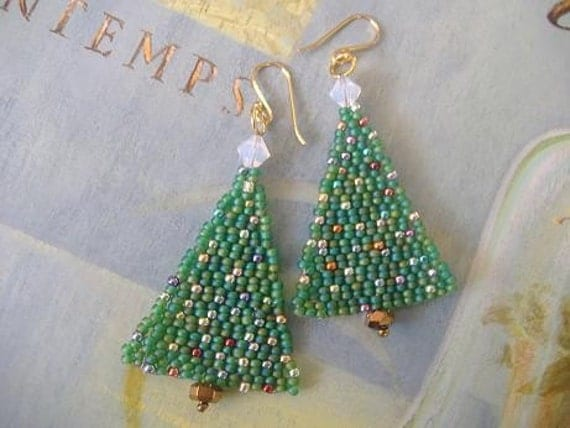 Christmas Tree Seed Bead Earrings Free Shipping