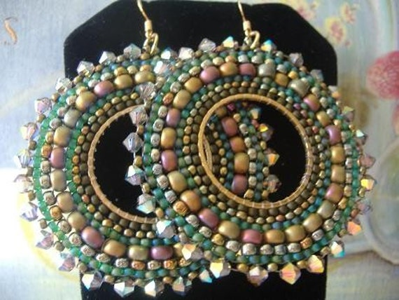 Hoop Earrings AUTUMN GODDESS Seed Bead Hoop Earrings