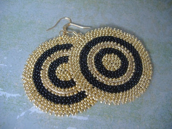Disc Earrings - Big Bold Black and Gold Goddess  seed bead earrings
