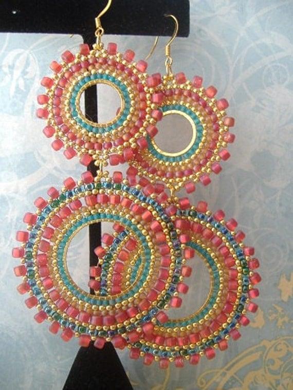 Double Hoop Earrings Aqua Berries II Bohemian Beaded Earrings