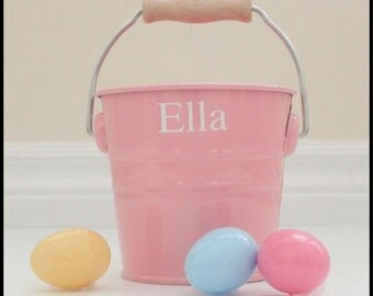 Boutique Personalized Easter Basket - Bucket - Pink, Blue and White