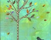 Green tree print