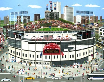 Chicago Cubs, Wrigley Field Chicago Painting Illinois Lithograph Print