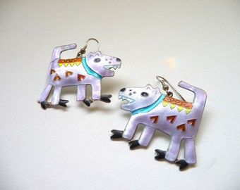 Sterling Enamel Barking Dog Earrings